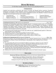 sle resume for insurance underwriter exle underwriter resume free sle