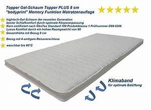 Gel Schaum Topper : topper gel schaum topper plus 8 cm bodyprint memory funktion matratzenauflage super ~ Eleganceandgraceweddings.com Haus und Dekorationen