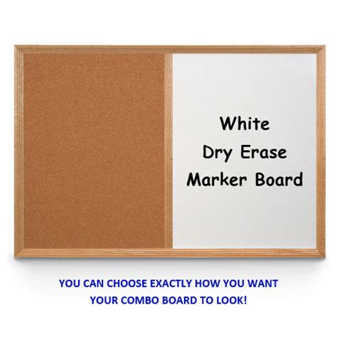 wood framed combo board 24x48 wood framed cork bulletin magnetic