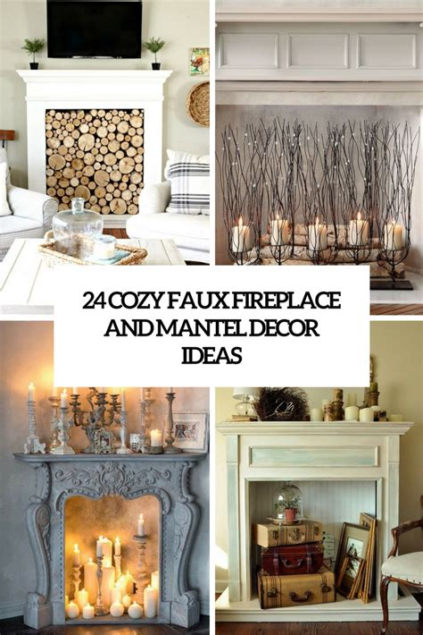 Decorating Ideas For The Fireplace by 24 Cozy Faux Fireplace And Mantel Decor Ideas Shelterness