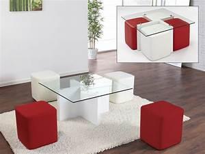 Table Basse 4 Poufs : table basse guest 4 poufs inclus mdf laqu 2 coloris ~ Teatrodelosmanantiales.com Idées de Décoration