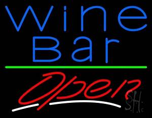 Blue Wine Bar Open Neon Sign