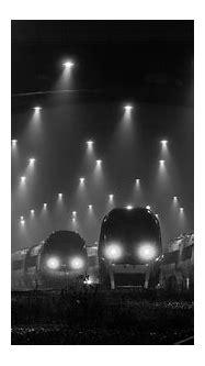 night, Lights, Train station, Railway, Mist, Monochrome ...