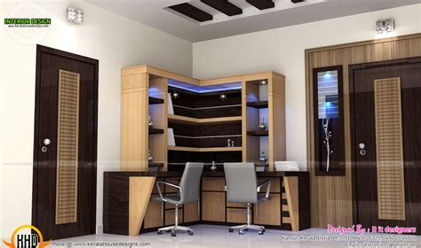 Study room, modern kitchen, living interior - Kerala home