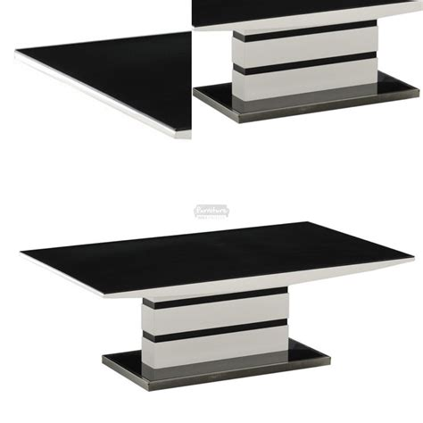 White Table by Arctic Black Glass Top And White High Gloss Coffee Table