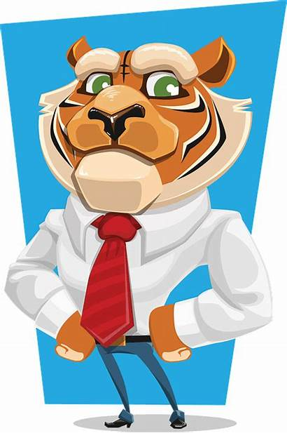 Attachment Secure Tiger Cartoon Characters Vector Overview