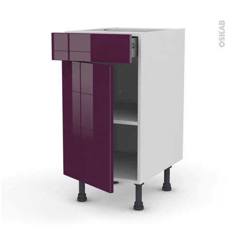 meuble de cuisine aubergine meuble de cuisine bas keria aubergine 1 porte 1 tiroir l40 x h70 x p58 cm oskab