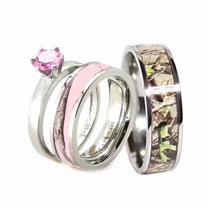 His her pink camo band engagement wedding ring set for Wedding rings with pink