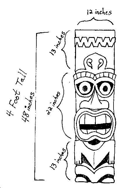 Tiki Totem Templates by Tiki Mask Stencil Tiki Stencil Tiki Measurements Luau