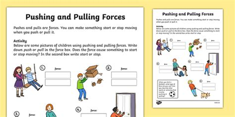 pushing and pulling forces worksheet push and pull pushing