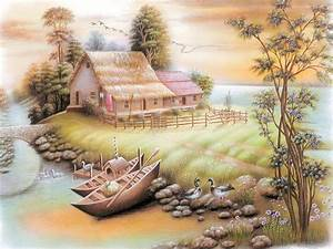 Beautiful Home Boat Lake Birds Poster Painting Hd ...