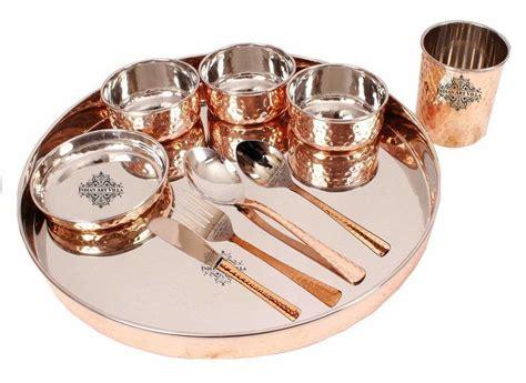 dinnerware thali copper dinner pieces sets indian steel brands bronze villa