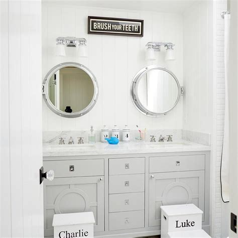 Royal Naval Porthole Mirrored Medicine Cabinet Uk by White And Gray Bathroom With Personalized Step Stools