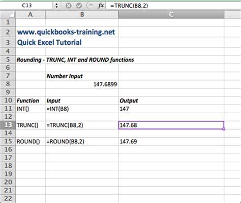 excel tutorial rounding  trunc int