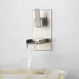 willis wall mount bathroom waterfall faucet bathroom With brushed nickel letters for wall