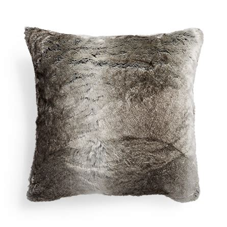 gray fur pillow grey wolf faux fur pillow arhaus furniture