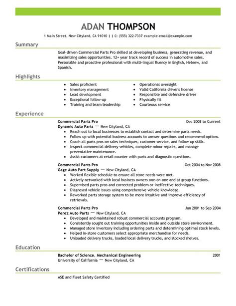 unforgettable commercial parts pro resume exles to