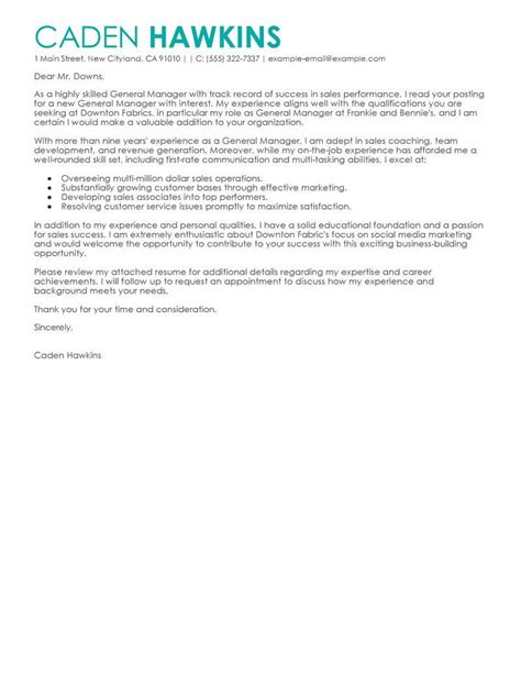 amazing sales general manager cover letter examples
