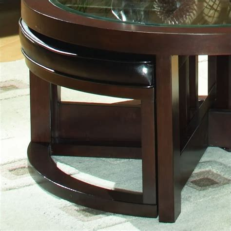 cocktail table with 4 ottomans trent home redell round glass top cocktail table with 4