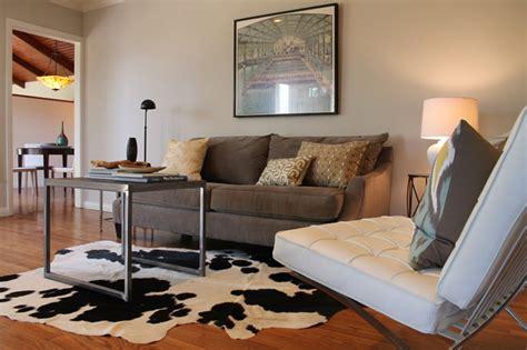 Cowhide Rug Living Room : Cowhide Rug, Barcelona Chair And Vintage Print