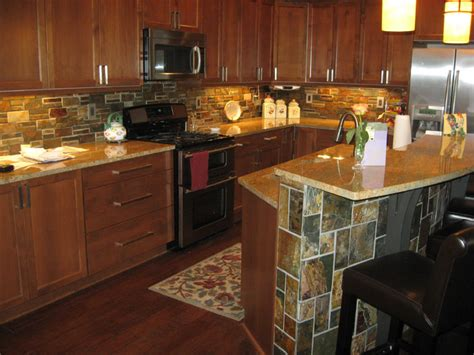 Stacked Tile Backsplash : Dark Wood Cabinetry With Stacked Stone Backsplash & Island