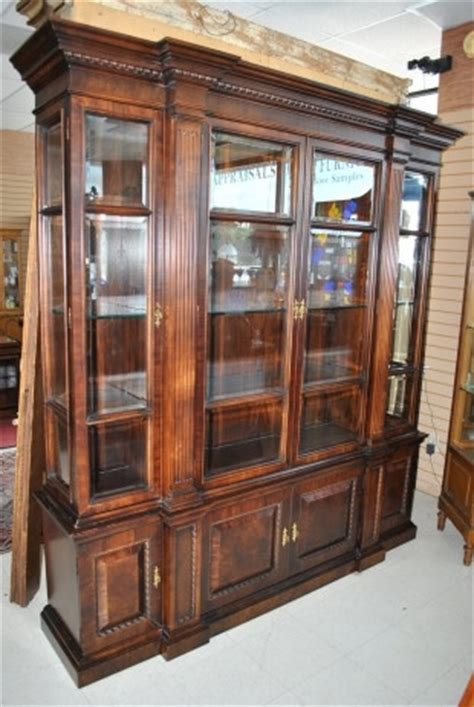 White Breakfront China Cabinet by Large Breakfront Mahogany Lighted 4 Glass Door China