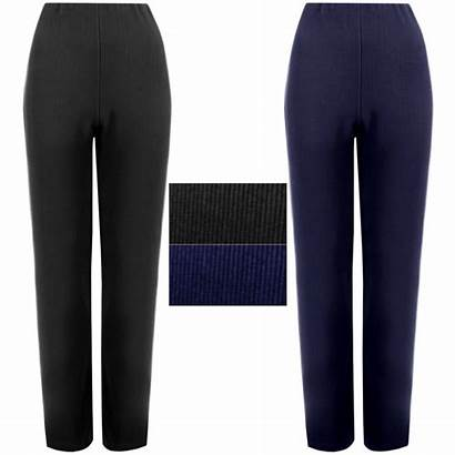 Trousers Pants Straight Stretch Pull Leg Ladies