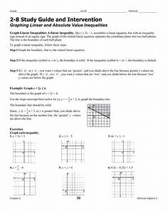 Graphing Linear Equations Worksheet Glencoe Algebra 1