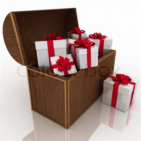 open treasure chest  gift boxes stock photo colourbox