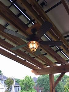 Outdoor Ceiling Fan Installed Under Solar Pergola  Concealed Power Wiring  By Grayzer Electric