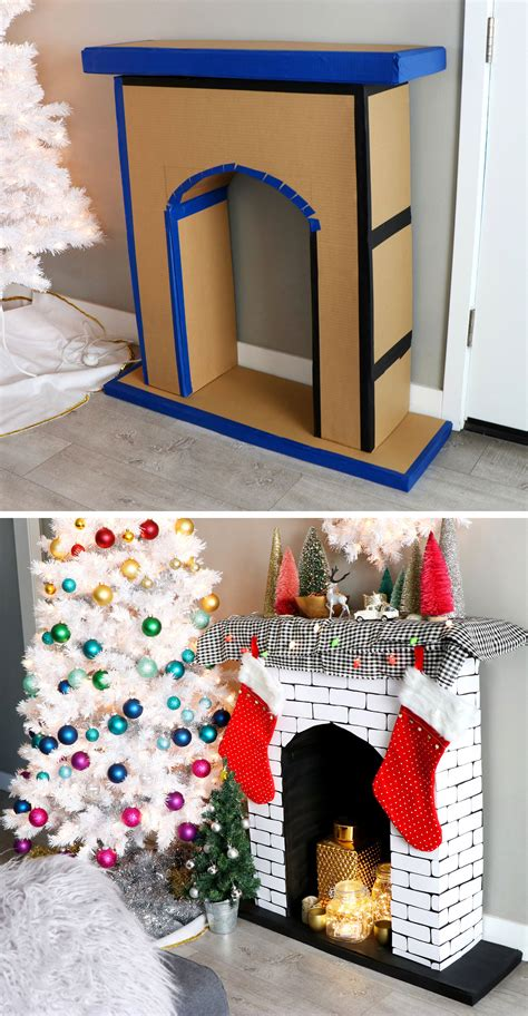diy faux cardboard fireplace christmas decoration karen