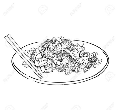 spaghetti clipart black and white plate of food drawing at getdrawings free for