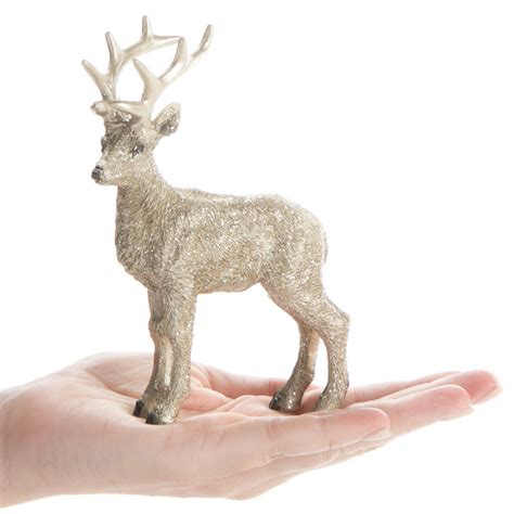 miniature platinum standing reindeer table decor