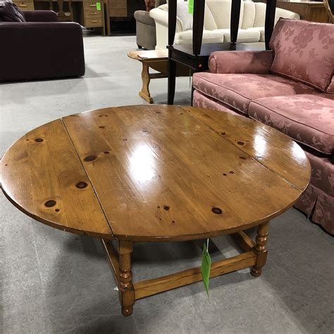European antique pine warehouse sells pine furniture and european reproductions in atlanta, georgia. Round Pine Coffee Table with Two Side Leaves