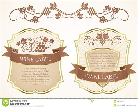 wine label template wine label stock vector illustration of