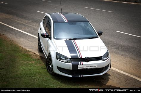 volkswagen polo white modified front three quarter of the vw polo modified by ide