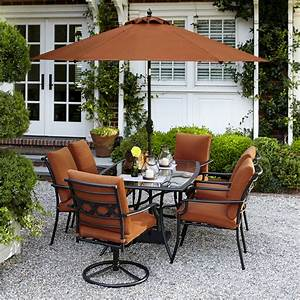 Garden Oasis Rockford 7 Piece Dining Set in Orange