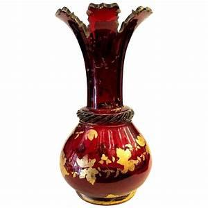 Grand Vase Transparent : bohemian 19th century deep ruby red glass gold enameled vase grand tour antiques ruby lane ~ Teatrodelosmanantiales.com Idées de Décoration