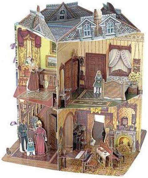 doll house victorian pop up template doll house book three dimensional victorian doll house by