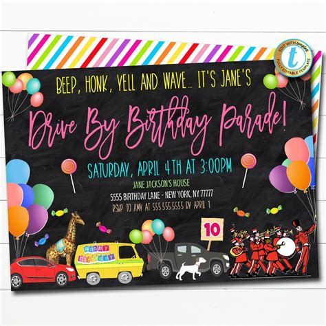 Drive By Birthday Parade Invite TidyLady Printables