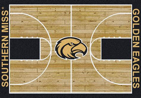 Basketball Area Rug by Southern Mississippi Golden Eagles Basketball Home Court