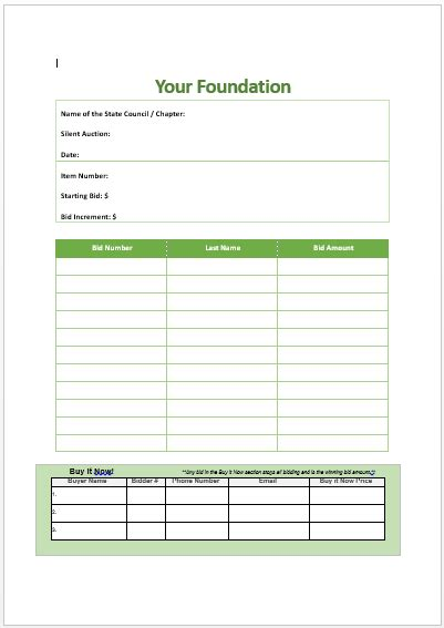 Buy Bid Silent Auction Bid Sheet With Buy It Now Silent Auction