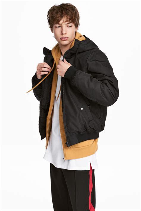 drawstring bag padded jacket black h m us