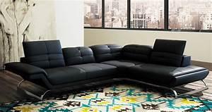 deco in paris 4 canape d angle design en cuir noir With canapé d angle angle droit