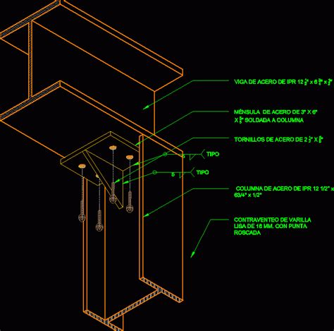 column bracket detail  beam frame dwg detail