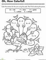 Peacock Pretty Worksheets Number Worksheet Coloring Numbers Math Pages Addition Coloriage Code Preschool Facts Theme Printable Pattern Fun Cycle Quilt sketch template