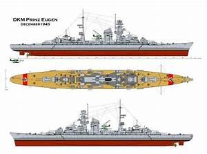 German Admiral Hipper Class Heavy Cruiser Prinz Eugen  1945