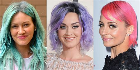 purple pink hair color trends  celebrities