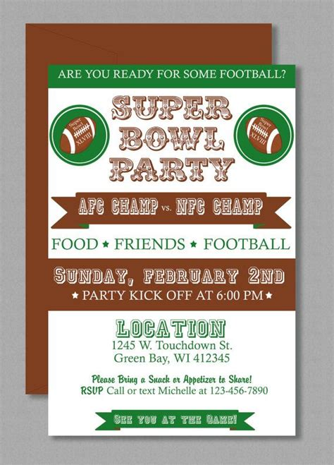 vintage super bowl invitation editable template