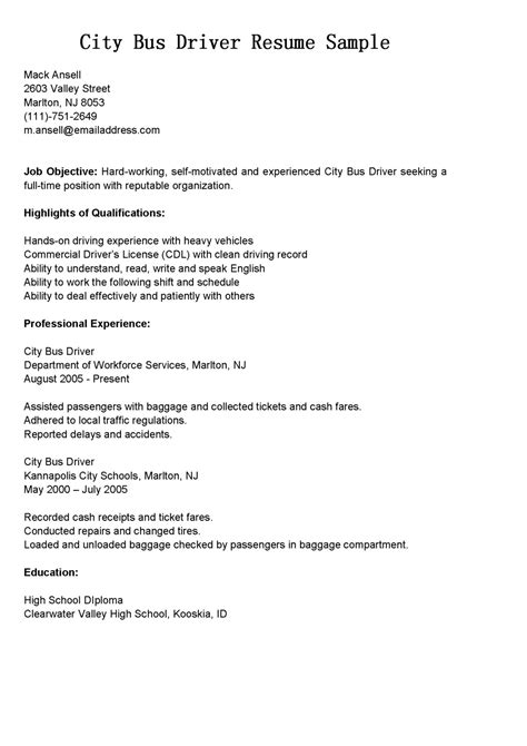 driver resumes city driver resume sle